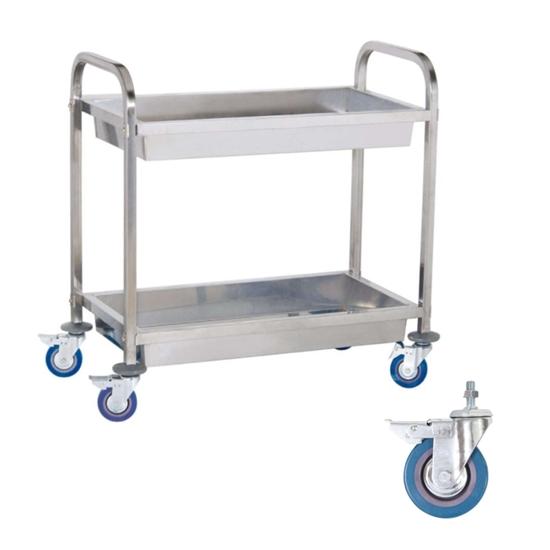 Wózek stalowy kelnerski 2 półkowy z głębokimi półkami