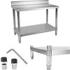 Stół do kuchni blat roboczy ze stali nierdzewnej z rantem i dolną półką 120x70cm