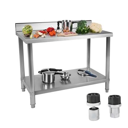 Stół do kuchni blat roboczy ze stali nierdzewnej z rantem i dolną półką 150x60cm