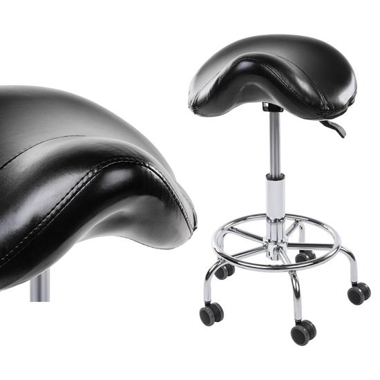 Taboret stołek hoker obrotowy siodłowy ADONIS CZARNY