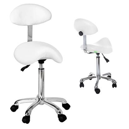Krzesło siodłowe obrotowe na kółkach z oparciem RELAXY BIAŁE