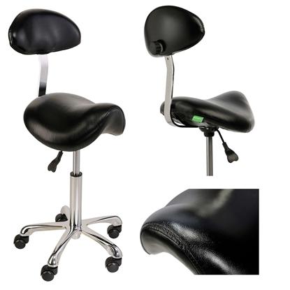 Krzesło siodłowe z oparciem RELAXY CZARNE