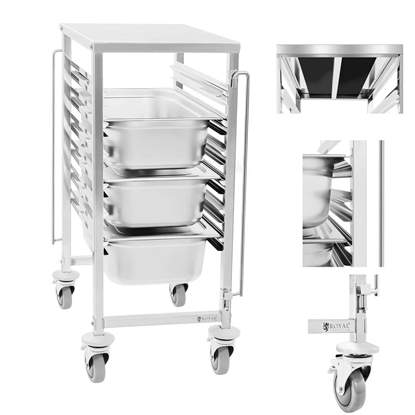 Gastronomiczny wózek z półką do transportu pojemników 6x GN1/1