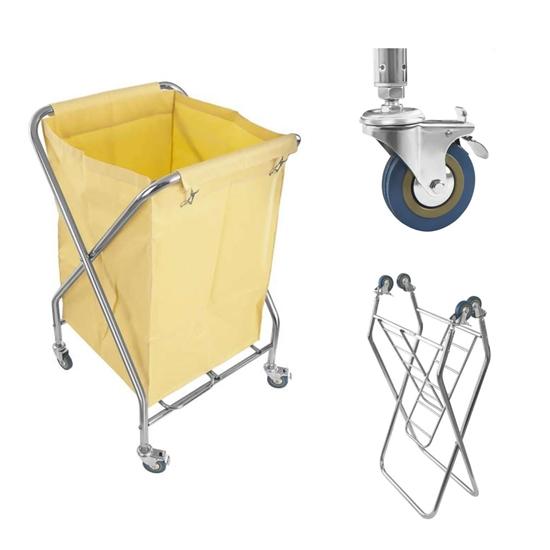 Wózek na brudne pranie składany nierdzewny 200L