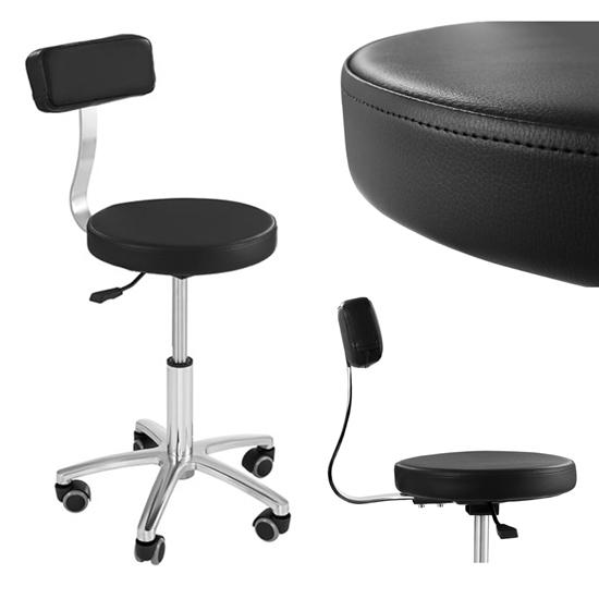 Krzesło kosmetyczne mobilne na kółkach Physa TERNI czarne