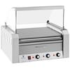 Roller grill rolkowy z osłoną i szufladą grzewczą do bułek 20 parówek HotDog 2600W 230V Royal Catering