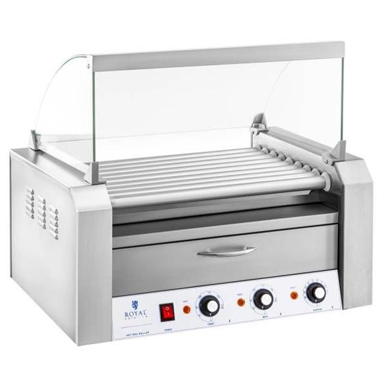 Roller grill rolkowy z osłoną i szufladą grzewczą do bułek 16 parówek HotDog 2200W 230V Royal Catering