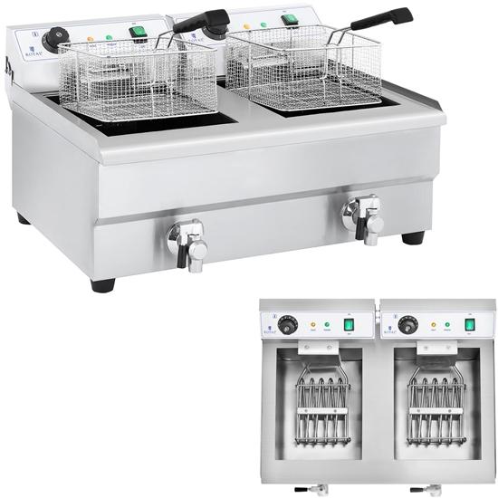 Frytkownica frytownica gastronomiczna dwukomorowa z kranami 230V 2x16L