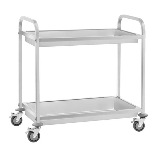 Wózek kelnerski 2-półkowy głębokie półki do 100 kg Stal nierdzewna RCSW-7.2