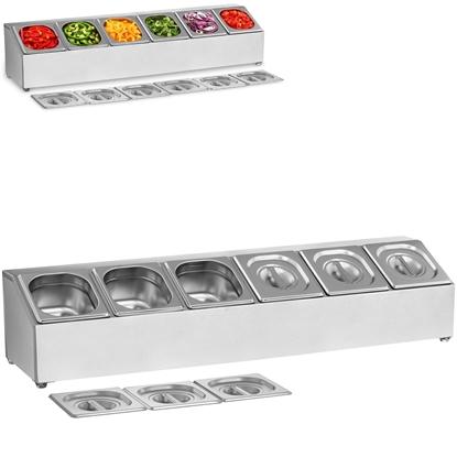 Ekspozytor stojak na pojemniki 6x GN 1/6 + pojemniki z pokrywkami