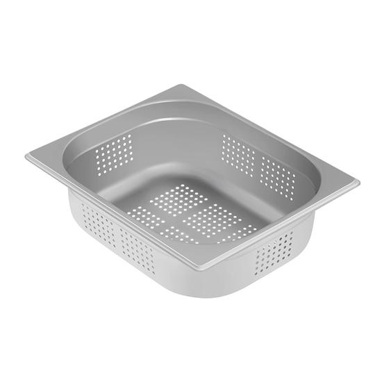 Naczynie gastronomiczne perforowane ze stali GN1/2 gł. 100 mm