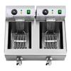 Frytownica podwójna gastronomiczna elektryczna z kranem 230 V 2 x 3000W 2 x 10 L
