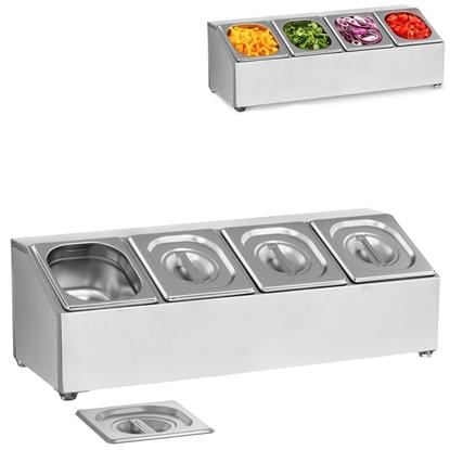 Ekspozytor stojak na pojemniki gastronomiczne 4 x GN1/6 + 4 x Pojemniki