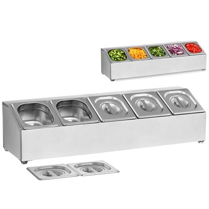 Ekspozytor stojak na pojemniki gastronomiczne 5 x GN1/6 + 5 x Pojemniki