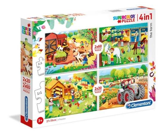Clementoni Puzzle 4w1 (2x20el + 2x60el) Farma 21304 p6, cena za 1szt. (21304 CLEMENTONI)