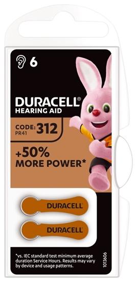 6 x baterie do aparatów słuchowych Duracell Easy Tab 312