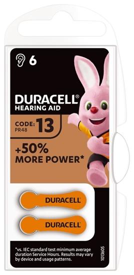 6 x baterie do aparatów słuchowych Duracell Easy Tab 13