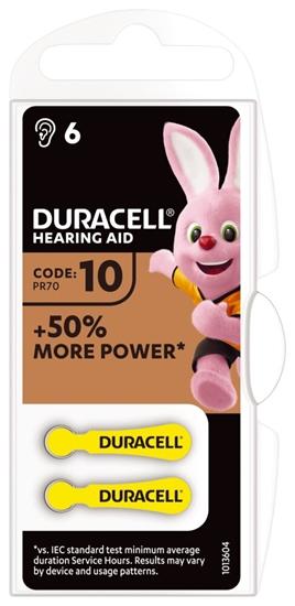 6 x baterie do aparatów słuchowych Duracell Easy Tab 10