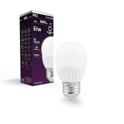 LAMPA  G45  E27 LED PROFI 9 KULKA 900lm 4000K  ceramika INQ