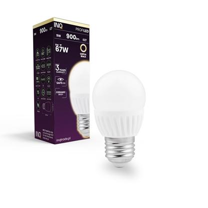LAMPA  G45  E27 LED PROFI 9 KULKA 900lm 3000K  ceramika INQ