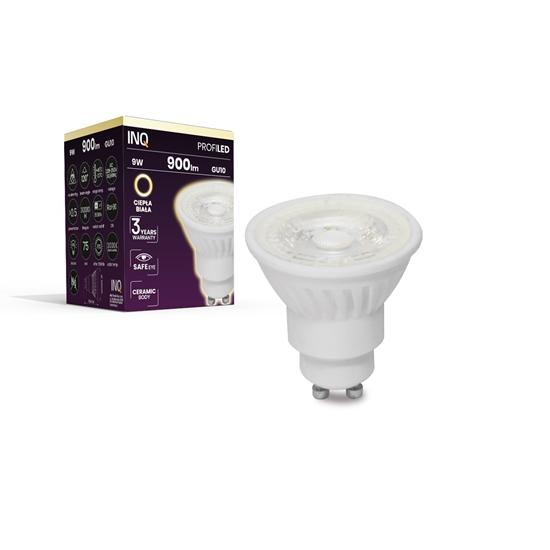 LAMPA LED  GU10 PROFI  LED 9 3000K  900lm ceramika SOCZEWKA 120^  INQ