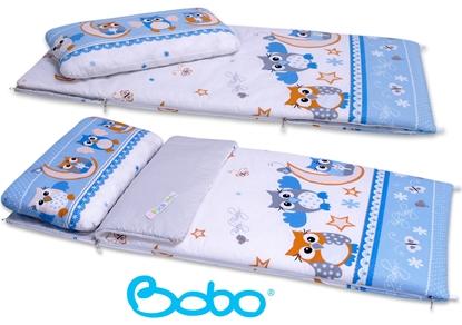 Śpiworek przedszkolaka BOBO . Trzy niebieskie sowy