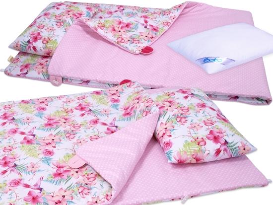 Pościel przedszkolaka BOBO 80x220 bawełna 3 el. Różowe kwiaty