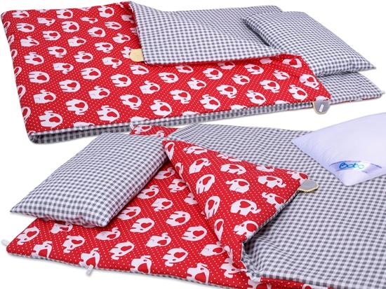 Pościel do przedszkola BOBO 80x220 bawełna 3 el. Czerwona w słonie