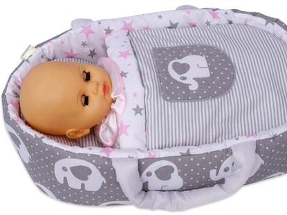 Nosidełko BOBO dla lalki do 45 cm Szare w słonie