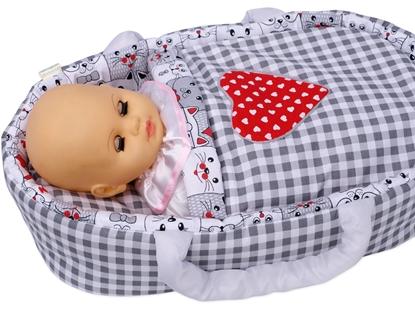 Nosidełko BOBO dla lalki do 45 cm Duża krata z sercem