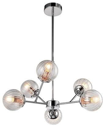 Lampa wisząca chromowe szklane klosze 6x40W Best Candellux 36-67272