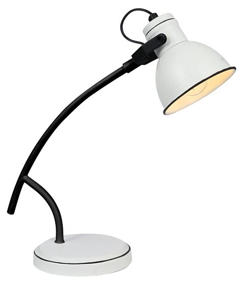 Lampka biurkowa biało-czarna skośna gabinetowa Zumba Candellux 41-72085