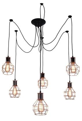 Lampa wisząca sufitowa czarno-miedziana 6x60W Verin Candellux 36-43092