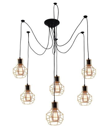 LAMPA SUFITOWA WISZĄCA CANDELLUX VERIN 36-57471  E27 CZARNY / ZŁOTY