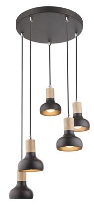 Lampa sufitowa wisząca czarna na talerzu 5x40W Puerto Candellux 35-62765