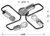 Lampa sufitowa czarna metalowa oprawka 4x60W Herpe Candellux 34-66923