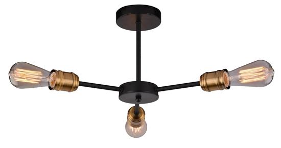 Lampa sufitowa czarna + patyna potrójna 3x60W Goldie Candellux 33-55750-Z
