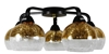 Lampa sufitowa czarno-złota szklane klosze 5x60W Cromina Gold Candellux 98-57297