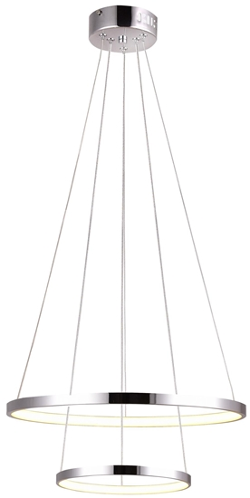 Lampa chrom LED wisząca okrągła podwójna 40W 4000K Lune Candellux 32-64769