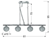 Lampa wisząca chrom szklana kula w oplocie 4x40W Wind Candellux 34-14092