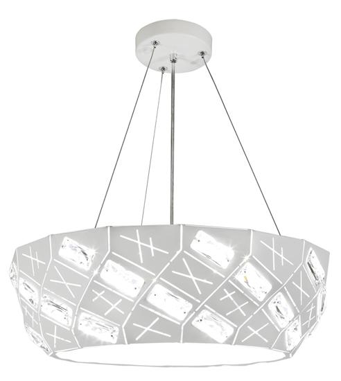 Lampa wisząca biała okrągła z kryształkami 4x40W Glance Candellux 31-59154