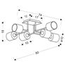 Lampa sufitowa satyna nikiel tkany abażur 6x40W Sax Candellux 36-70708