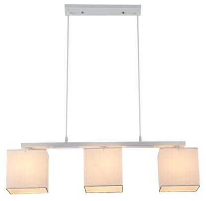 Lampa wisząca biała + beżowy tkany abażur 3x40W Boho Candellux 33-58362