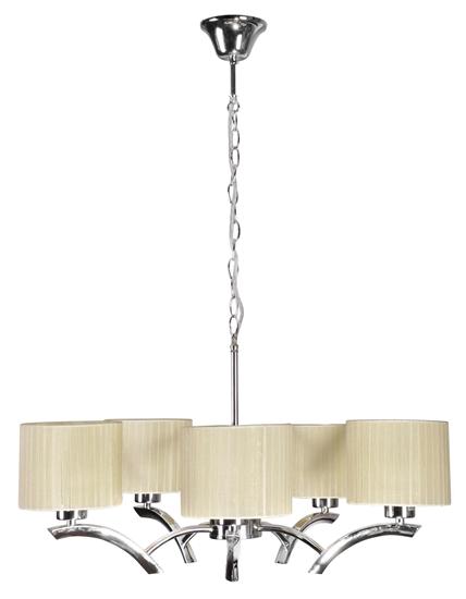 Lampa wisząca chrom + krem abażur 5x60W żyrandol Draga Candellux 35-04222