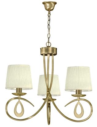 Lampa wisząca patyna / kremowy abażur tkany 3x40W Arnika Candellux 33-21670