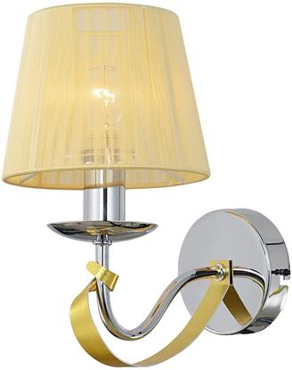 Kinkiet chrom / złoty nitkowy abażur E14 40W Diva Candellux 21-55040