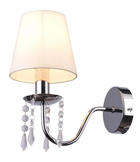 Kinkiet chromowy /beżowy abażur z kryształkami 40W Ruti Candellux 21-58706