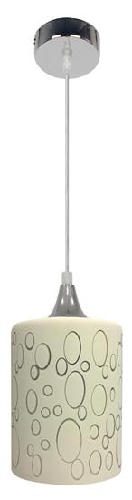 Lampa wisząca chromowa + szklany kremowy klosz E27 Sand Candellux 31-57754