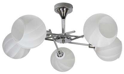 Elegancka, nowoczesna pięcioramienna lampa sufitowa chrom z biały Candellux Raul 35-72269