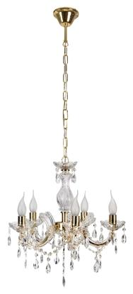 Lampa wisząca żyrandol z kryształkami złoty 5x40W Maria Teresa Candellux 35-94646